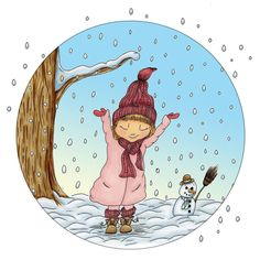 Winter... Now in the middle of summer it's hard to believe that it is going to snow again in a few months  this is one of the session illustrations I made with this little girl I have shown summer and fall earlier