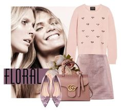 """""""Floral Flats"""" by cherieaustin ❤ liked on Polyvore featuring Carven, Markus Lupfer, Gucci and WithChic"""