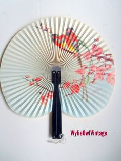 Vintage Chinese Cherry Blossom Paper Hand Fan by WylieOwlVintage, $9.50