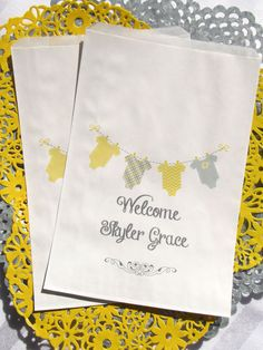 Baby Shower | Baby Shower Candy Bags | Baby Shower Favor Bags | Yellow and Grey Baby Shower | by Abbey and Izzie Designs