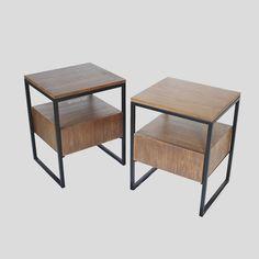 Прикроватный столик в стиле лофт. Прикроватная тумба, скандинавский дизайн. Nightstand wood.