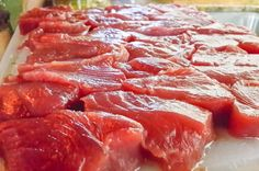 Freshly cut tuna Tranquilo Lodge Drake Bay, Osa Peninsula Costa Rica #fishing #travel #vacation #food