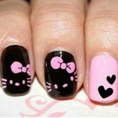 Hello Kitty in black pink nail art creative-nails Fancy Nails, Love Nails, Pretty Nails, Nail Lacquer, Nail Polish, Nail Gel, Pink Nail Art, Pink Nails, Black Nails