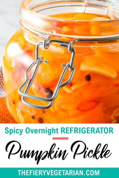 This spicy pumpkin refrigerator pickle comes together in just under 30 minutes to delight your tastebuds with its tangy spicy quick pickled pumpkin goodness! One of the easiest pumpkin recipes you'll ever make this fall, gluten-free savory spicy goodness you won't believe is made with fresh pumpkin, is low-calorie and contains NO oil. Have it today and customize to your tastes, with ginger as a great side to coconut rice and Asian dishes, or without to pair with creamy cheeses. Vegetarian Side Dishes, Tasty Vegetarian Recipes, Vegetarian Appetizers, Vegan Main Dishes, Vegan Dinner Recipes, Vegan Recipes Easy, Vegan Pumpkin Bread, Eating Vegetables, Coconut Rice