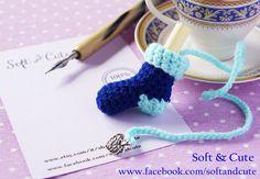 Valentine's day sock BOOKMARK  blue and aqua wool  di SoftCute