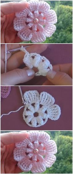 Crochet Easy Beautiful Flowers Crochet Easy Beautiful Bows Simple Crochet Beautiful Flowers Fast and Easy Crochet Projects Free Patterns Easy Crochet Flower Tutorial – Learn to Crochet – Crochet Kingdom Crochet Flower Tutorial, Crochet Flower Patterns, Crochet Designs, Crochet Flowers, Knitting Patterns, Diy Flowers, Small Flowers, Knitting Ideas, Beau Crochet