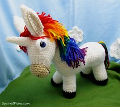 Rainbow Donkey  •  Free tutorial with pictures on how to make an animal plushie in 13 steps