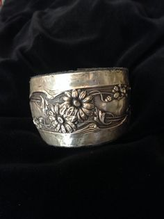 Sterling+silver+repurposed+antique+cuff+leather+by+Trinkets4Fun,+$79.00