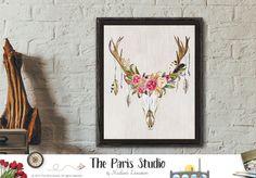 Instant Download Watercolor Antler Floral Rustic Art Print #TheParisStudio