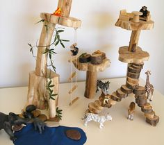 Easy DIY treehouse play scene for imaginative/pretend play