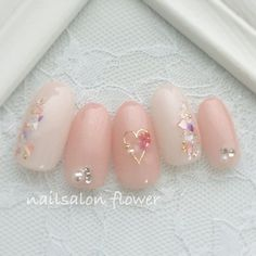 ネイル ネイル in 2020 Gem Nails, Nail Manicure, Pink Nails, Hair And Nails, Pastel Nails, Cute Nail Art, Cute Acrylic Nails, Cute Nails, Pretty Nails