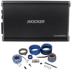 package: kicker 1200 watt rms mono class d car audio amplifier with  protection + rockville copper full-spec 4 awg complete car amplifier  installation kit