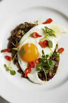 Courgette rosti with a fried duck's egg and chilli - Recipes - Food & Drink - The Independent