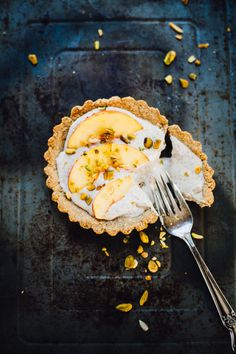Vegan Nectarine Pistachio Yogurt Tart | Will Frolic for Food