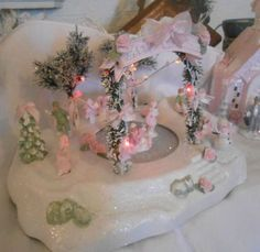 shabby pink victorian christmas | Shabby Pink Victorian Lighted Christmas Village Musical Ice Skating ...
