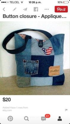 Denim bag made from re-cycled jeans. Pattern is a nine patch quilt design with 2 pockets added to the outside of the bag. Jean Crafts, Denim Crafts, Jean Purses, Purses And Bags, Denim Purse, Denim Ideas, Recycled Denim, Purse Patterns, Quilted Bag