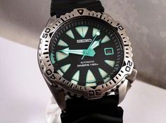 Seiko Black 'New Monster' Mod Steel Bezel Automatic Diver's Date Watch 7002-7020 in Jewellery & Watches, Watches, Wristwatches | eBay