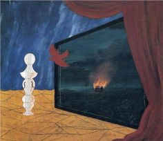 Strange.  Violin, chess piece, Romantic painting, Pathosformel.  And the bird!  René Magritte, Nocturne, 1925