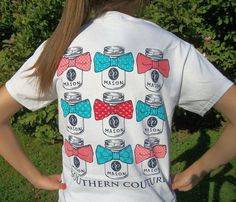 Southern Couture Classic Mason Jar w/ Bows White Preppy T-Shirt - Nautical Style #CoutureTeeCompany #GraphicTee