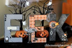Mod Podge Halloween Letters using the @pebblesinc Thirty One collection