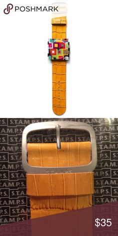 Mustard Crocodile S.T.A.M.P.S. Wristband Genuine Leather                                                                                             22 cm x 3 cm                                                             S.T.A.M.P.S. watches are interchangeable              products. ( one stamp face included with the purchase of wristband!! ) FREE GIFT WITH EVERY PURCHASE,  I WILL TAG YOU TO CHOOSE YOUR PREFERRED COLOR !!! Urban Outfitters Accessories Watches