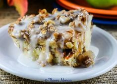 Cinnamon Apple Pie Bread Pudding is a simple yet delicious dessert or breakfast that tastes like a combination of apple pie and cinnamon rolls. ~ http://FlavorMosaic.com