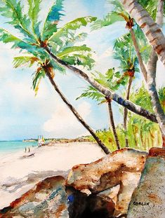 Bavaro Tropical Sandy Beach watercolor painting by Carlin Blahnik. Bavaro Beach is a long stretch of cool sand for an enjoyable walk. Located in Punta Cana, Dominican Republic. The tropical sea is colored in soft turquoise. In this picture, the viewer is shaded by colorful lush palm trees. The large rocks provide a natural bench seat. This is a great area to take in all the beauty of this tropical paradise. And, if you are so inclined, there is a Geocache near by :-)…