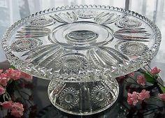 EAPG ANTIQUE HEISEY GLASS PEDESTAL CAKE STAND PLATE . BEADED PANEL & SUNBURST
