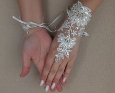Free ship Ivory lace Wedding gloves silver by ByMiracleBridal
