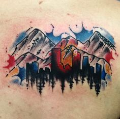 Watercolor colorado mountain tattoo with lettering by Spencer Reisbeck   Certified Customs