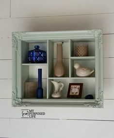 Step by step directions on how to make an easy shadow box out of a thrift store picture frame. The possibilities are endless. Shadow Box Shelves, Wooden Shadow Box, Cubby Shelves, Diy Shadow Box, Shadow Box Frames, Shelving, Cubbies, Picture Frame Shelves, Unique Picture Frames