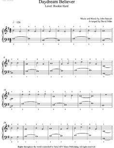Daydream Believer by The Monkees Piano Sheet Music | Rookie Level