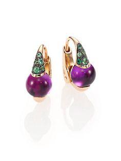 Pomellato - M'Ama Non M'Ama Amethyst, Tsavorite & 18K Rose Gold Leverback Earrings