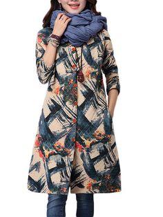 Women Print Single Breasted Loose Long Sleeve Vintage Coat