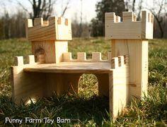 Toy Castle Dollhouse Wooden Play Kids Medieval by FunnyFarmToyBarn, $60.00
