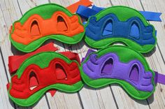 This listing is for ONE Ninja Turtle inspired mask. Your choice of : Red, Blue, Orange, or Purple Each mask is made of felt and tie on with a