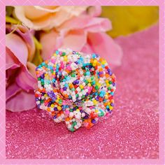 Sweet Rose Rainbow Sprinkles Resin Adjustable by tranquilityy, $8.99