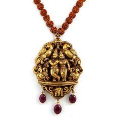 Radha Krishna, Peacocks & Rudraksham.