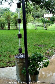Timeless Treasures : Tin Buckets Home-Made Rain Chain Downspout