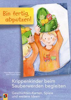 """Bei unserer Geschichtensammlung """"Bin fertig, abputzen!"""" braucht niemand die Nase zu rümpfen: Zehn kurze Vorlesegeschichten thematisieren die Sauberkeitserziehung bewusst schon für die Jüngsten. Und damit das Zuhören noch mehr Spaß macht, ist auf der Rückseite jeder A4-Geschichtenkarte eine passende, ganzseitige Illustration abgebildet.   #Krippe #Kita #Kindertagespflege"""