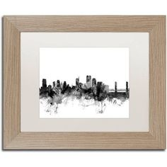 Trademark Fine Art 'Sacramento CA Skyline B' Canvas Art by Michael Tompsett White Matte, Birch Frame, Size: 11 x 14
