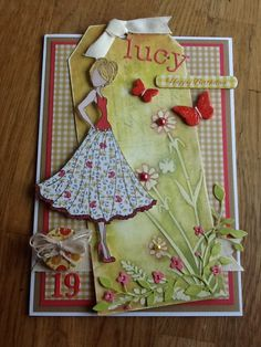 Card using Julie nutting doll stamp and grunge paste.