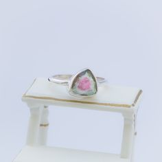 An amazing Watermelon Slice that was specifically faceted for that extra bit of sparkle. The colours in this stone just look so yummy! Green around the outside and pink in the middle, just like a W...