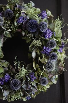 beautiful decorative wreath with leaves and deep purple dried flowers Dried Flower Wreaths, Lavender Wreath, Wreaths And Garlands, Xmas Wreaths, Autumn Wreaths, Dried Flowers, Flower Garland Wedding, Flower Garlands, Flower Decorations