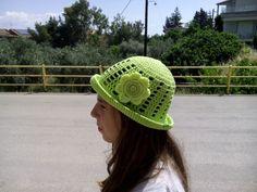 crochet / hat / flower / children / ideas / yarns / hooks / stitches / children / ideas / beautiful / gift / crafts / summer / sun hat / spring / cotton / handmade / etsy / green / yellow