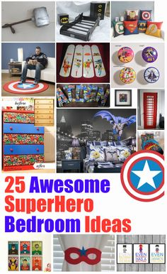 Here are 25 Awesome SuperHero Bedroom Ideas that will help you give your own little SuperHeor a massive smile. Including tutorials and fun things to try.