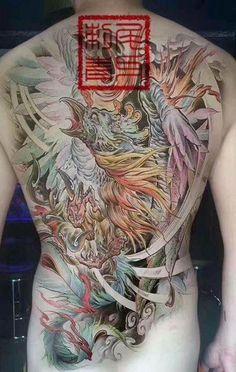 Color Tattoo, I Tattoo, Mens Body Tattoos, Phoenix Design, Dragon Sketch, Full Back Tattoos, Koi Fish Tattoo, Asian Tattoos, Japanese Tattoo Art