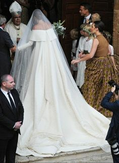 Lady Charlotte Wellesley's Stunning Off-The-Shoulder A-Line Bridal Gown With Watteau Train + Embellished Cathedral Length Drop Veil
