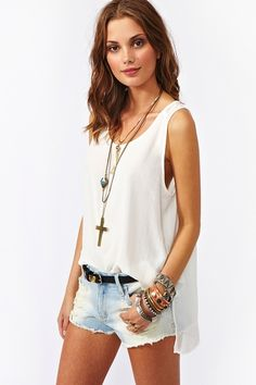 Chiffon Back Tank in Ivory