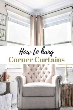 How to hang Corner Curtains and a Corner Curtain Rod Hack! Learn how to frame a corner window or set of corner windows to create a cozy look. I've also shared an easy corner curtain rod hack with plumbing materials. Corner Curtain Rod, Corner Window Curtains, Hanging Curtain Rods, Window Curtain Rods, Long Curtain Rods, Bay Window, Corner Window Treatments, Window Treatments Living Room, Living Room Windows